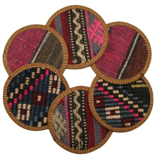 Rug & Relic Kilim Coasters Set of 6 - Kuyucuk For Sale