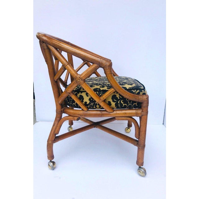 Asian 1970's Bamboo and Rattan Chippendale Swivel Desk Chair For Sale - Image 3 of 13