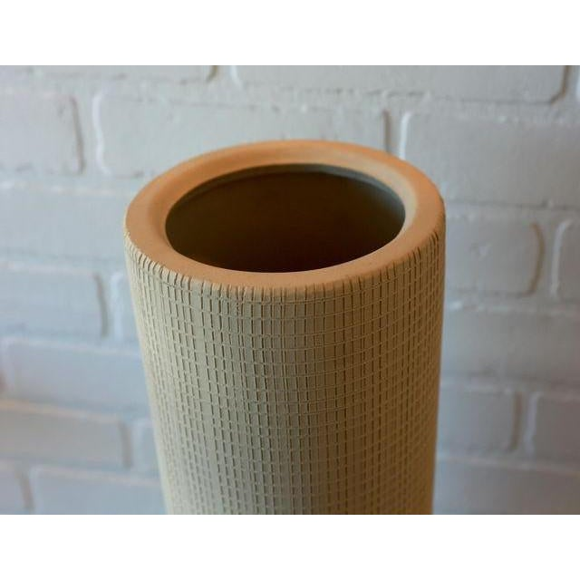 Hand Textured Grid Patterned Tall Studio Pottery Ceramic Vessel For Sale - Image 4 of 5