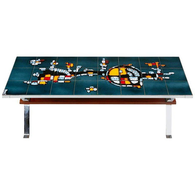 Italian Chrome and Ceramic Tile Top Coffee Table, Signed, Circa 1960 For Sale In Los Angeles - Image 6 of 6