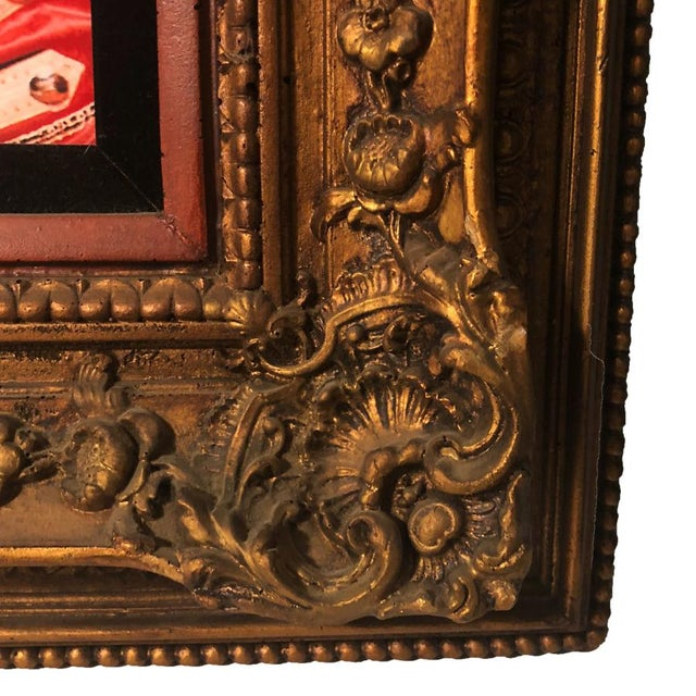 Gold Antique Large Ornate Victorian Mirror W/ the Beatles Sgt Peppers Print For Sale - Image 8 of 9