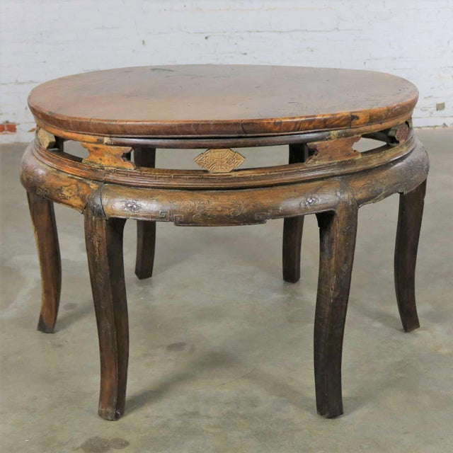 Antique Chinese Round Center Table Hand Carved Elm For Sale - Image 13 of 13
