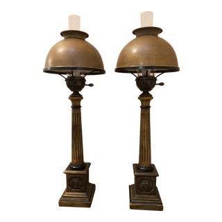 Frederick Cooper Vintage Hurricane Lamps - A Pair For Sale