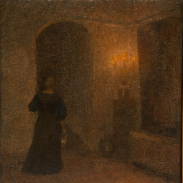 Traditional Early 20th Century Antique Woman in Hallway Original Oil on Canvas Painting For Sale - Image 3 of 8