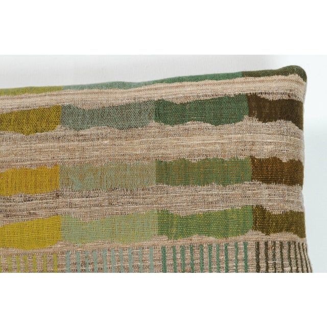 Contemporary Indian Handwoven Lumbar Pillow Bauhaus Green For Sale - Image 3 of 5