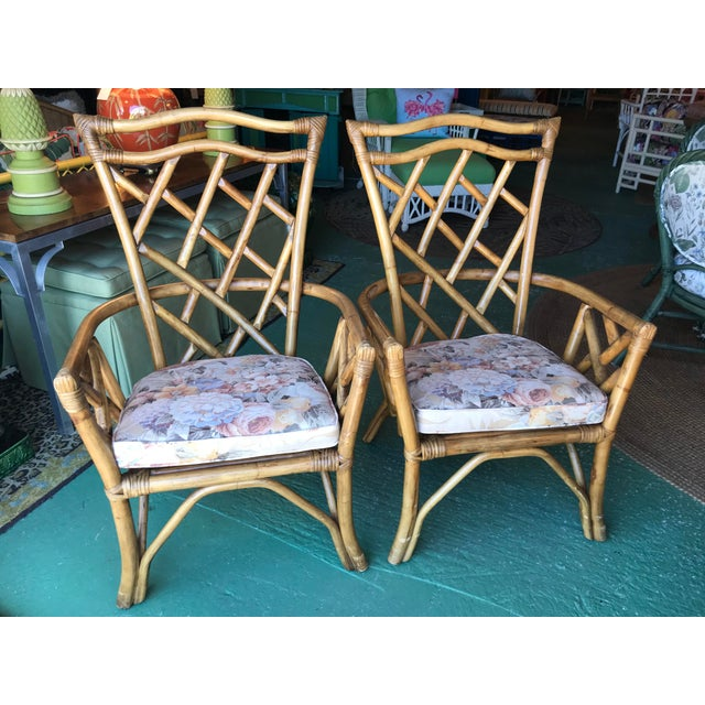 Vintage Chippendale Rattan Chairs-Pair For Sale - Image 9 of 10
