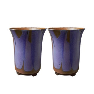 Purple Flame Glazed Indoor Planters by David Cressey - a Pair For Sale