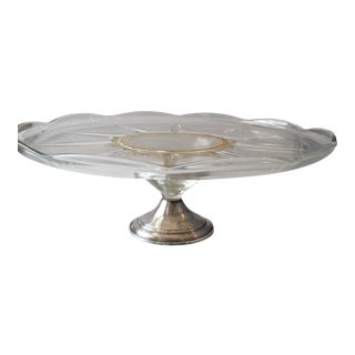 Sterling Silver & Glass Cake Stand For Sale