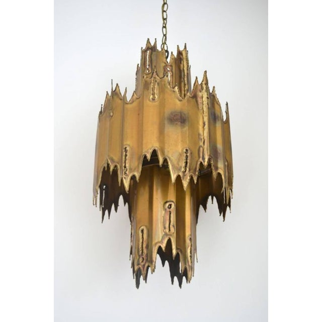 1950s Midcentury Brutalist Torch Cut Chandelier by Tom Greene For Sale - Image 5 of 7