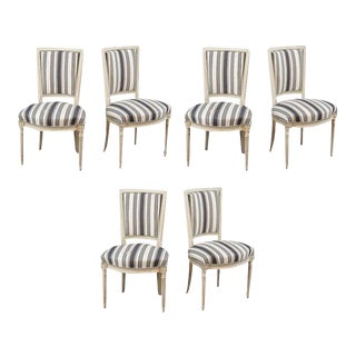 Handsome Set of Six Louis XVI Style Side Chairs Covered in Blue and White Stripe For Sale