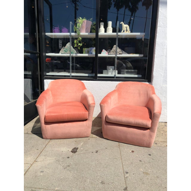 1970s Mid-Century Pink Velvet Club Chairs - a Pair For Sale - Image 9 of 9
