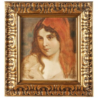 Early 20th Century Antique Oil Portrait of a Woman For Sale