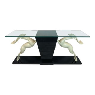 Italian 1980s Deer Motif Lacquer and Glass Console Table For Sale