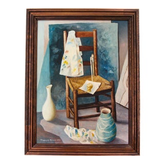 Trompe l'Oeil Still Life Oil Painting by Randolph Brooks American Painter For Sale