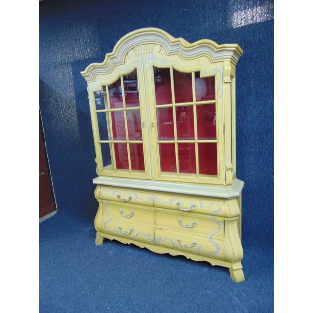 French Drexel French Style Paint Decorated China Cabinet For Sale - Image 3 of 10