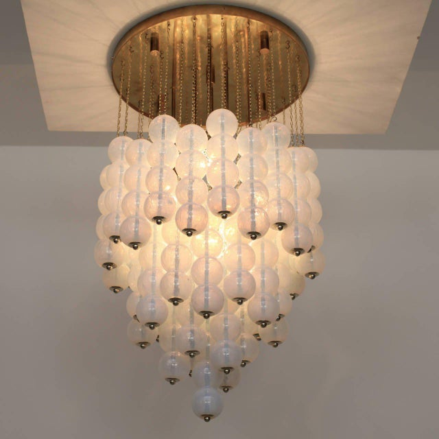 Very Huge Opaline Murano Glass Balls and Brass Chandelier by Zero Quattro Milan For Sale - Image 6 of 6