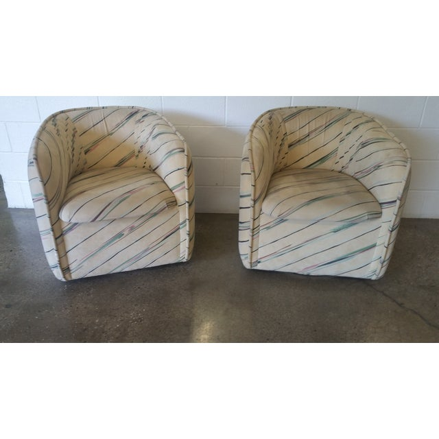 1980s Ultra-Suede Bucket Swivel Chairs - Pair - Image 2 of 5
