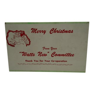 C. 1950 Watts New Committe Merry Christmas Advertising Sign For Sale