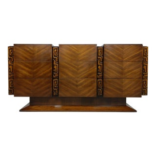 Tiki Brutalist Mid Century Dresser, Sideboard by United, Sculptural - Paul Evans Style For Sale