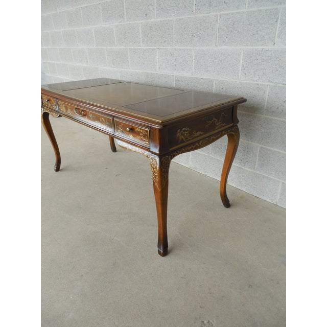 Drexel Et Cetera Chinoiserie Tooled Leather Top Writing Desk - Image 7 of 11