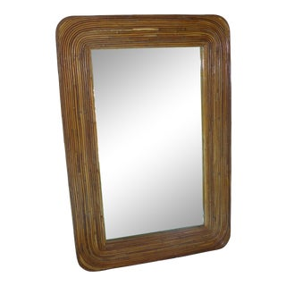 Rattan Pencil Reed Wall Mirror with Rounded Corners For Sale