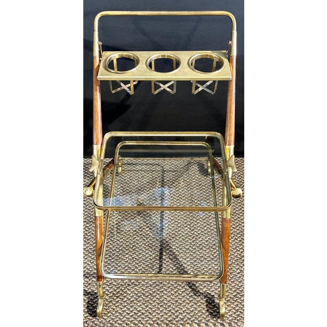 Mid-Century Modern Bar Cart, Teak and Brass For Sale - Image 9 of 13