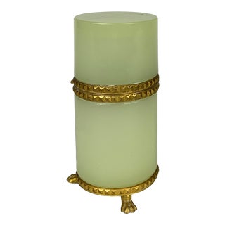 Early 20th Century Powdered Neon Opaline Cylinder Box For Sale