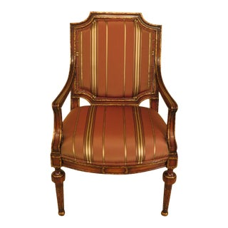 2000s Vintage French Louis XV Style Striped Upholstered Arm Chair