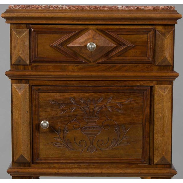 Brown 1900s French Marble Topped Walnut Pot Cupboard For Sale - Image 8 of 13