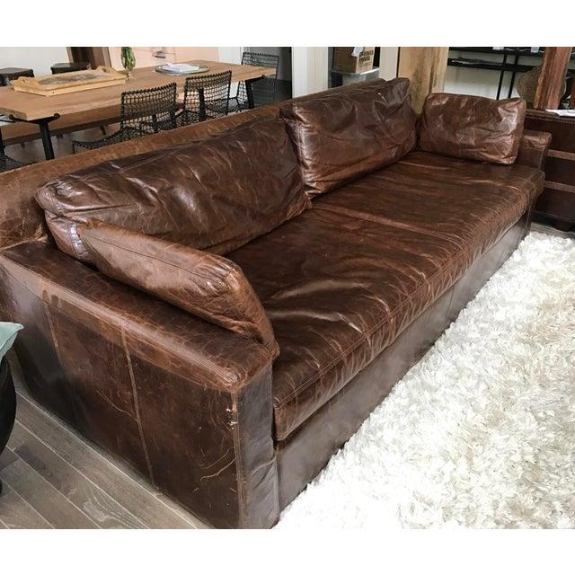 Restoration Hardware Belgian Track Arm Leather Sofa Chairish