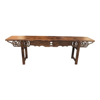 Hand Carved Apron Altar Table For Sale