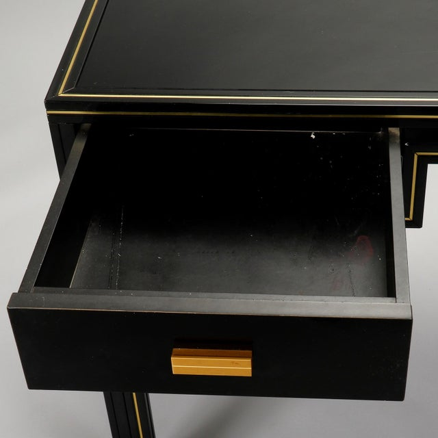 Pierre Vandel Pierre Vandel French Black Lacquered and Brass Desk For Sale - Image 4 of 11