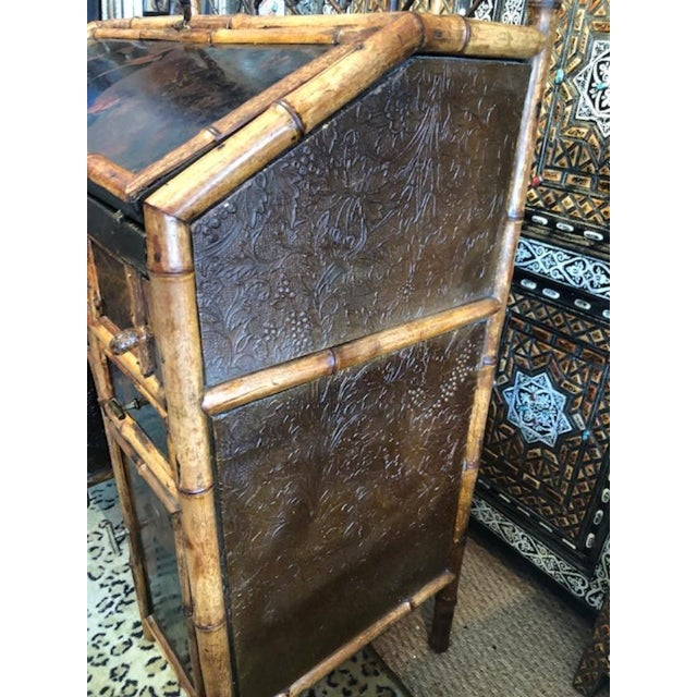 19th Century Boho Chic Bamboo Bureau Secretary Desk For Sale In West Palm - Image 6 of 8