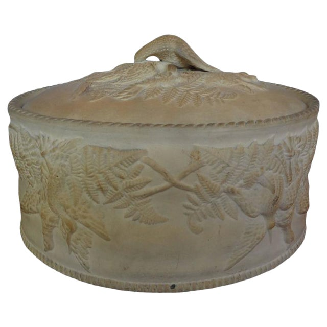Antique French Caneware Game Pie Dish For Sale