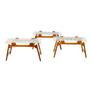 Set of Three Mid-Century Design Solid Wooden Coffee Tables With Sandblasted Glass Top, 1950s For Sale
