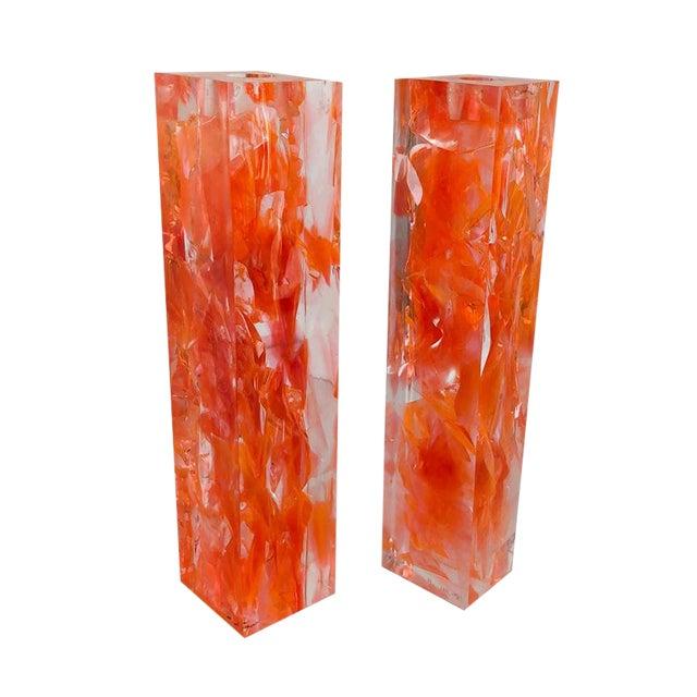 Pair of Vintage Orange Resin Candlesticks Signed N M For Sale