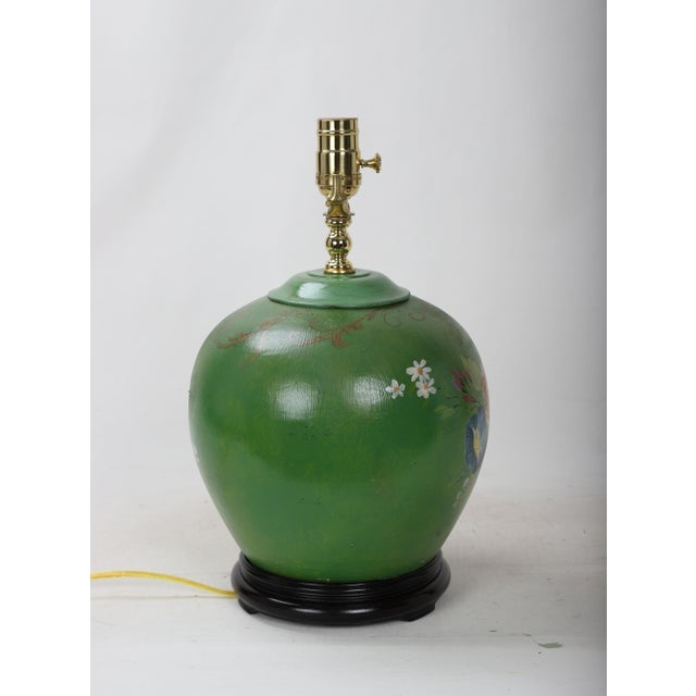 20th Century Art Deco Hand Painted Porcelain Table Lamp For Sale - Image 4 of 9
