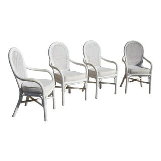Vintage White Twisted Rattan Cane Back Dining Chairs - Set of 4 For Sale