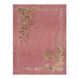 Contemporary Hand Woven Pink Floral Rug - 9'8 X 12'10 For Sale