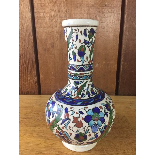 Boho Chic Middle Eastern Hand-Painted Glazed Pottery For Sale - Image 3 of 11