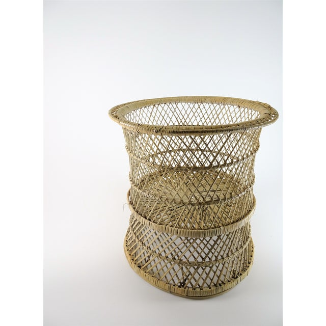 Wicker 20th Century Boho Chic Woven Plant Stand For Sale - Image 7 of 8