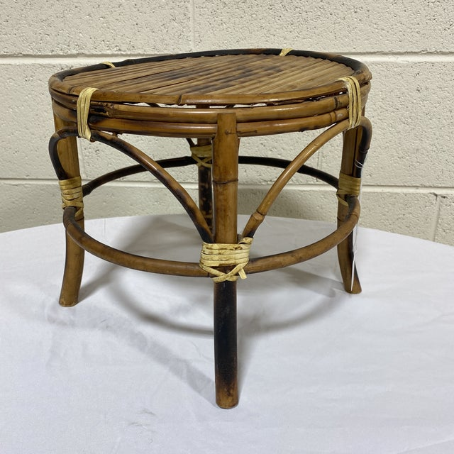 Small Vintage Burnt Bamboo Stool For Sale - Image 11 of 11