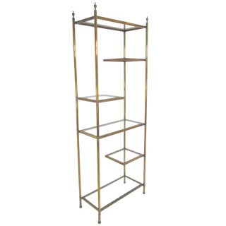 Hollywood Regency Étagère in Brass With Cantilevered Display Shelves For Sale