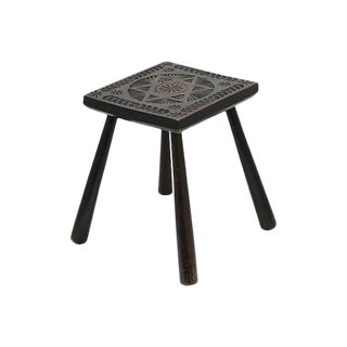 Antique English Hand-Carved Stool For Sale