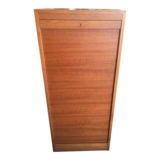 Danish Modern Flat File With Tambour Door Teak For Sale
