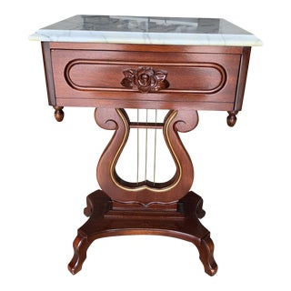 Vintage Victorian Harp Base Marble Top Lyre Side Table For Sale