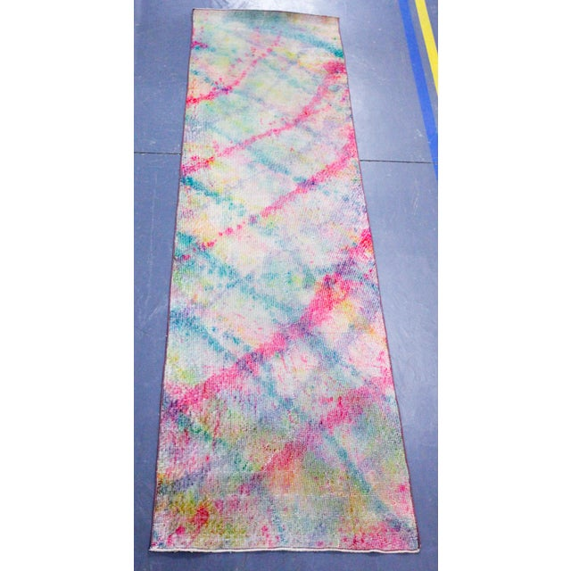 Vibrant Multicolored Overdyed Rug Runner - 2′9″ × 9′3″ - Image 2 of 3