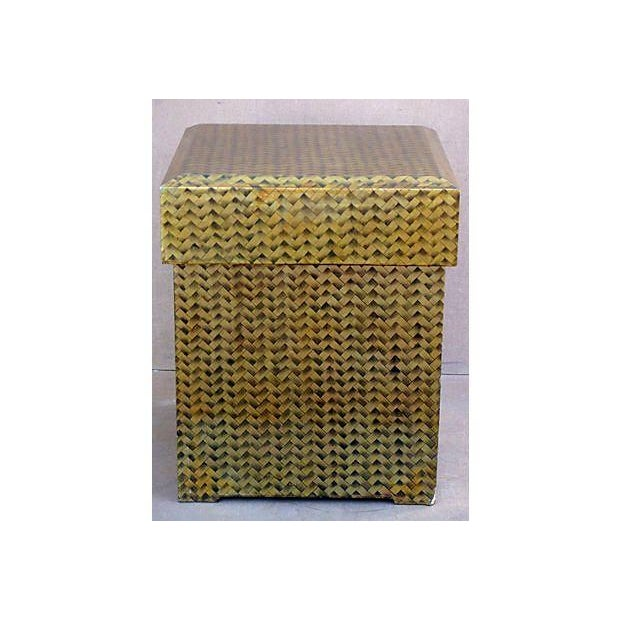 Gold Lacquered Covered Trunk For Sale - Image 4 of 11
