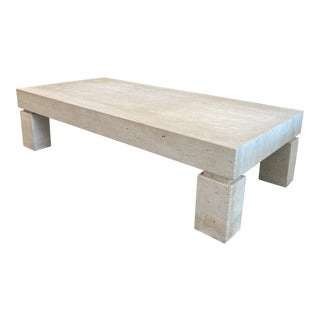 Monumental Travertine Cocktail Table For Sale