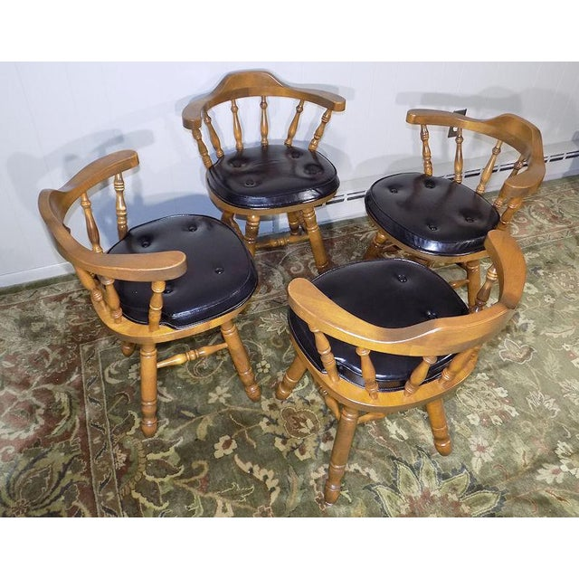 Americana Set of 4 George B. Bent Solid Maple Windsor Swivel Chairs For Sale - Image 3 of 13